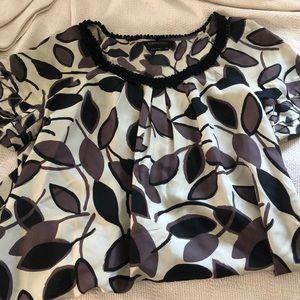 Silk BCBG leaf patterned top